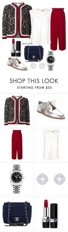 """Gucci x Sonia Rykiel"" by karmaelle ❤ liked on Polyvore featuring Gucci, Loeffler Randall, Sonia Rykiel, Armani Collezioni, Rolex, Chanel and Christian Dior"
