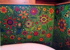 Clare Dohna Mosaic - Love the green grout Mosaic Crafts, Mosaic Projects, Clay Projects, Mosaic Art, Mosaic Tiles, Mosaic Bathroom, Stone Mosaic, Mosaic Glass, Glass Art