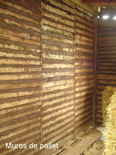 Wall made of pallets and cob, interesting idea. Need to find out how to lock the pallets together.
