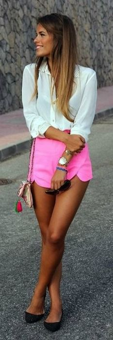 Neon Pink Shorts. #spring #style