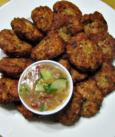 Salmon Patties using Thai Recipes is my variation to normal Thai Fish Cakes - twirled with pine-nuts fusion style. Thai Recipes, Fish Recipes, Seafood Recipes, Asian Recipes, Cooking Recipes, Healthy Recipes, Recipies, Fish Patties, Salmon Patties