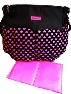 This popular nappy bag has definitely been designed with Mum in mind with a pocket for everything and includes a bonus matching change mat http://www.babybuydirect.com.au/collections/nappy-bags/products/black-pink-hearts-nappy-shoulder-pram-bag