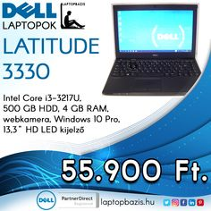 "Dell Latitude 3330 laptop, Intel Core i3-3217U, 500 GB HDD, 4 GB RAM, webkamera, Windows 10 Pro, 13,3"" HD LED kijelző Ár: 55 900.- Ft"