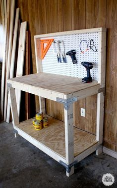 DIY Workbench (or place for back porch storage-prettied up a bit-add potted herbs to pegboard?)