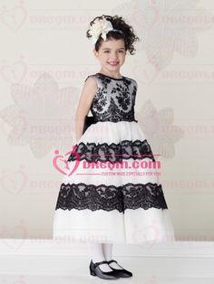 White Satin Flower Girl Dress of Black Applique Front
