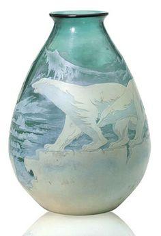 Emile Galle - Cameo Glass 'Polar Bear' Vase, circa 1925