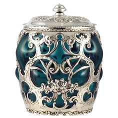 1stdibs - Whiting Sterling Silver Lobed Green Glass Cigar Humidor 1899 explore items from 1,700  global dealers at 1stdibs.com