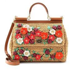 Dolce & Gabbana Miss Sicily Embroidered Straw Handbag by None, via Polyvore