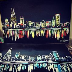 Graffiti Spraypaint Chicago City Skyline Mixed Media ...