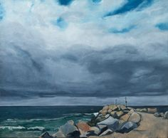'The BreakWall' painted in Narooma, NSW. Oil paint, bees wax on linen stretcher