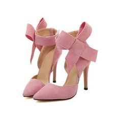 SheIn(sheinside) Pink With Bow Slingbacks High Heeled Pumps ($32) ❤ liked on Polyvore featuring shoes, pumps, heels, pink, scarpe, stiletto heel pumps, pointed toe high heel pumps, pink pointy toe pumps, pink stilettos and high heels stilettos