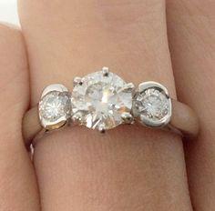 Exquisite Three stone Diamond Ring set in Platinum by Appelblom