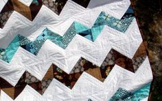 Modern Sophisticated Quilt  Brown and Blue Zig by SewSewMuchMore