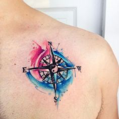 Compass watercolor tattoo - but without the yin yang