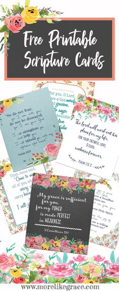 These FREE Scripture cards are great for Bible Memory Plans, Encouragement Notes to friends, Bible Verse Bookmarks, Lunchbox Notes. Faith Scripture, Scripture Cards, Bible Scriptures, Bible Quotes, Prayer Cards, Scripture To Encourage, Bible Verses For Encouragement, Bible Verse Crafts, Bible Verses For Girls