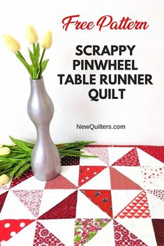 Make this quick quilted table runner from red and white triangle squares and dress up your table for holidays or every day. Step-by-step photo tutorial from NewQuilters.com. Quilting Tips, Quilting Tutorials, Machine Quilting, Table Runner Tutorial, Table Runner Pattern, Jelly Roll Quilt Patterns, Quilt Patterns Free, Small Quilts, Easy Quilts