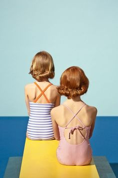 I'm loving this retro children's editorial in Milk Magazine. Honestly, how perfect is the David Hockney inspired backdrop to this group of adorable kiddos in their summer swimwear? (images by Oliver Spies for Milk Magazine)