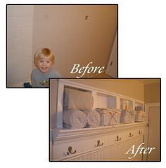 How To Turn Your Child Into a Shelf. I'm gonna have to try this....(I'm keeping the caption b/c its funny, but I really like the built in shelf idea - great for small spaces)