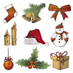 Christmas Icons  #GraphicRiver         Hand drawn Christmas icons. Eps 10 and Ai CS 3 included.     Created: 20June13 GraphicsFilesIncluded: VectorEPS #AIIllustrator Layered: No MinimumAdobeCSVersion: CS3 Tags: bell #berry #bow #box #branch #candle #cartoon #christmas #decoration #drawing #evergreen #gift #handdrawn #handbell #hat #holiday #holly #icons #man #newyear #pine #present #ribbon #set #snowman #stocking #symbol #tree #vector #winter
