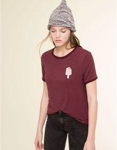Pull&Bear - femme - t-shirts et tops - t-shirt fines rayures pièce - grenat - 09243309-I2015