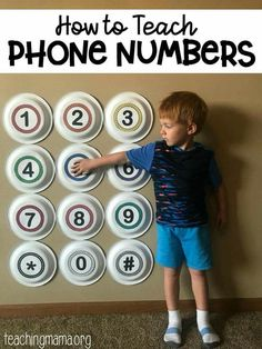 How to Teach Phone Numbers - a fun hands-on way to teach children how to dial important phone numbers. A simple hands-on way to teach phone numbers. This free printable will make it easier for children to memorize important phone numbers. Preschool Learning Activities, Preschool Lessons, Preschool Classroom, Infant Activities, In Kindergarten, Teaching Kids, Kids Learning, Preschool Crafts, Numbers Preschool