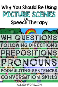 Using picture scenes in speech therapy is a win-win! Kids love to talk about pictures and this activity targets multiple goals: conversations, vocabulary, verbs, WH questions, sentence formulation, following directions, inferences, nouns & pronouns, prepositions, and more. Even reluctant kids find conversation scenes irresistible. They can also be used as writing prompts. Be sure to check out my FREE picture scenes! Pronoun Activities, Problem Solving Activities, Comprehension Activities, Speech Therapy Activities, Language Activities, Receptive Language, Speech And Language, Nouns And Pronouns, Multiple Meaning Words