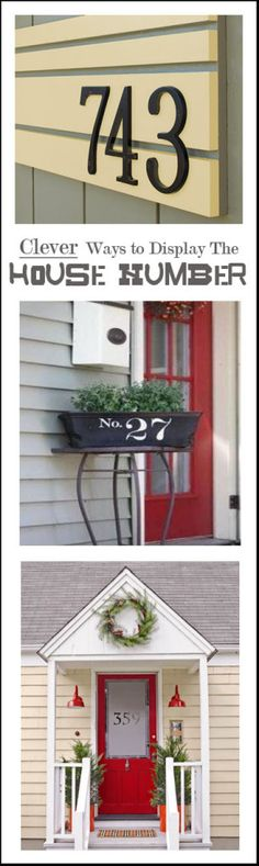 Clever ways to display the house number,, frost the front door! Style Deco, Outdoor Living, Outdoor Decor, House Numbers, Porch Decorating, My Dream Home, Home Projects, Exterior Design, Beautiful Homes