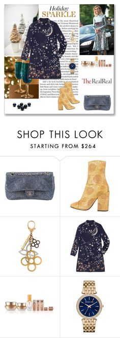 """""""Holiday Sparkle With The RealReal - 1"""" by ludmyla-stoyan ❤ liked on Polyvore featuring Chanel, Dries Van Noten, Louis Vuitton, Tiffany & Co., Valentino, Sulwhasoo and Michael Kors"""