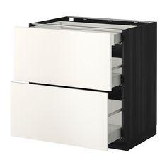 METOD / MAXIMERA Benkeskap 2 fronter/3 skuffer - tremønstret svart, Veddinge hvit, 80x60 cm - IKEA