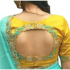 Yellow Embroidered Blouse Designs For Auspicious Occasions Yellow Embroidery Saree Blouse Designs Pattu Saree Blouse Designs, Designer Blouse Patterns, Saree Blouse Neck Designs, Bridal Blouse Designs, Pattern Blouses For Sarees, Sari Design, Simple Blouse Designs, Stylish Blouse Design, Designer Kurtis