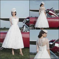Wholesale A-Line Wedding Dresses - Buy Best Selling Sheer 1/2 Sleeve Appliques Sheer Jewel A-Line Wedding Dresses Tea-Length Wedding Gowns Simple Bridal Dresses, $149.88 | DHgate