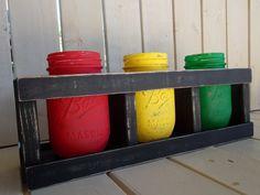 Jamacian Mason Jar Vase Set With Wood Crate Rasta Jar Red Yellow Green Vase Set Rastafarian Stash Jar