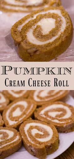 This classic Pumpkin Cream Cheese Roll is a hit holiday dessert that's super easy to make and looks like it came from a gourmet bakery! Give it a try and wow your guests by putting slices on a tray of holiday treats! Holiday Desserts, Easy Desserts, Holiday Treats, Delicious Desserts, Yummy Food, Fall Treats, Yummy Eats, Cream Cheese Rolls Recipe, Pumpkin Cream Cheese Roll
