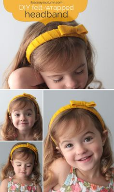 easy DIY felt wrapped headband - this is a great project for girls groups of all ages! Make a dollar store headband pretty and sophisticated using felt. Headband Hairstyles, Diy Hairstyles, Pretty Hairstyles, Diy Projects To Try, Crafts To Make, Crafts For Kids, Felt Headband, Headbands, Felt Diy