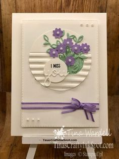 I Miss You Bouquet Card ⋆ Tina Wardell~Stampin' Up! Independent Demonstrator - Petals and More - Bitty Blossoms Handmade Birthday Cards, Greeting Cards Handmade, Birthday Gifts, Miss You Cards, Embossed Cards, Marianne Design, Get Well Cards, Card Sketches, Sympathy Cards