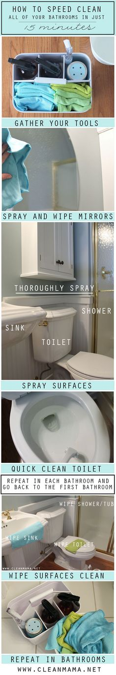 Fly through cleaning ALL your bathrooms in about 15 minutes with this speedy and painless bathroom cleaning routine.