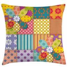 Throw Pillows : East Urban Home Colorful Flower Polka Dots Mix Square Pillow Cover East Urban Home Size: 16 x 16 Patchwork Cushion, Quilted Pillow, Sewing Pillows, Applique Pillows, Colorful Throw Pillows, Decorative Cushions, Quilting, Pillow Design, Throw Pillow Covers