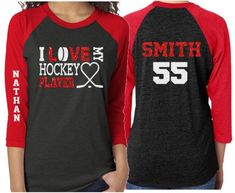 Glitter Hockey Mom shirt | I Love My Hockey Player | Customize with your Team & Colors by GavinsAllyeDesigns on Etsy