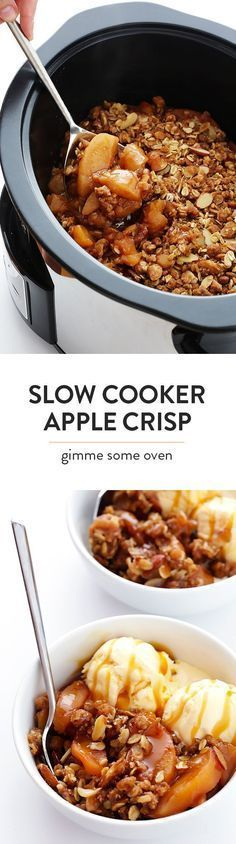 This Slow Cooker Apple Crisp recipe is easy to make in the crock-pot, and it's made with the most delicious warm cinnamon apples and crisp oatmeal-almond topping!   http://gimmesomeoven.com (Gluten-Free / Vegan / Vegetarian)