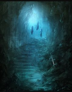 A chamber in he Heartstone shrine of Sion (Shard of Kings). Visible are the Three Watchers in vigil over the Last Sword of Sion.  (Concept Art by Sean Wong Jia Jun)