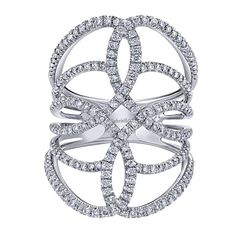 14k White Gold Diamond Fashion Ladies' Ring | Gabriel & Co NY | LR50652W45JJ
