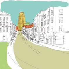 Park Street - Giclee Print by Jenny Urquhart
