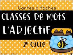 Cartes à tâches - Repérage de l'adjectif dans une phrase - 2e cycle Cycle, Grade 3, French Language, Teacher, Math, Work Sheet, Words, School, Language Arts