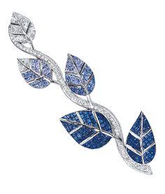 Cellini Jewelers. Sapphire and Diamond Leaf Brooch.
