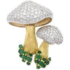 Diamond Emerald Gold Mushroom Brooch