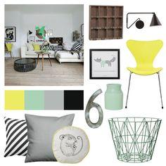 In deze stijlkaart zie je hoe je door middel van decoratie een woonkamerkamer kunt opfleuren. Door de rustige basis is er veel ruimte voor felle kleuren en stoere materialen. Hier worden geel en mintgroen gemixt met grijs en zwart. Door hout en…