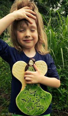 • urokliwe dom - zielony anioł prezent na roczek chrzest aniołek wiszący - na białe beżowe, zielone