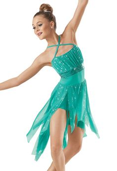 Glitter Mesh High-Low Dress -Weissman Costumes   Hurricane I don't really like how the straps cross in the front, but if they aren't sewn together it could be slid to the back. Even if they are sewn, it would be a quick clipping of stitches and then instructing dancers to put the criss-cross in the back regardless of the picture.