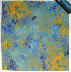 I would like to try this on silk now... 'Blue skies over Berlin': basic combed cotton printed by Spoonflower (part design only). Original: oil on canvas. © Su Schaefer 2013