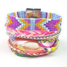 Fashion Megnetic buckle bracelets Bohemian Maltilayer Handmade beach bracelet